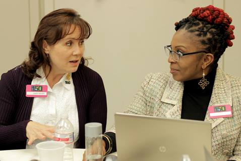 Participants discuss the work of United Methodist Women at their annual Board and Program Advisory Group meeting, in March 2017. Photo by Hattice McCord, courtesy of United Methodist Women.