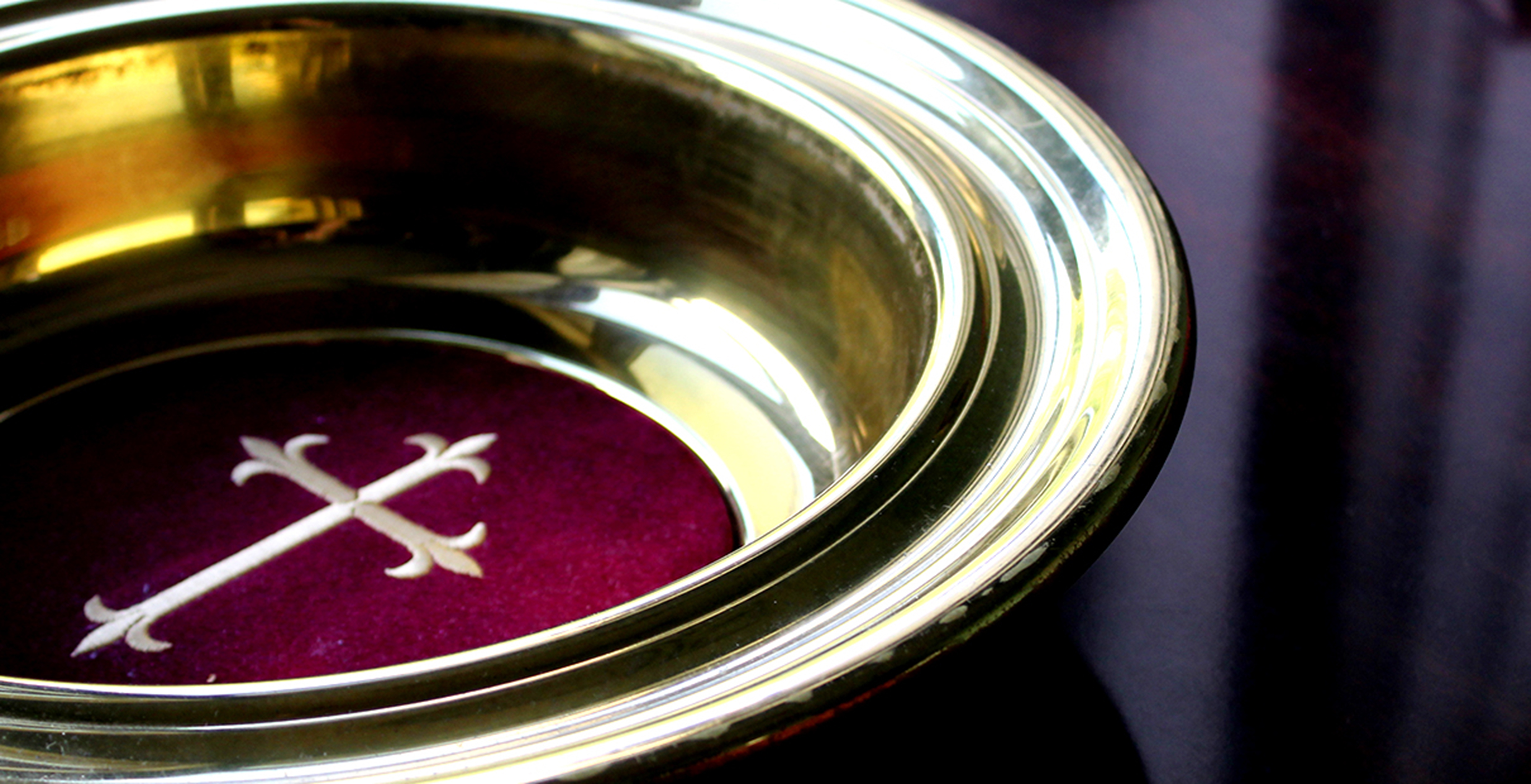 Offering plate images. A photo illustration by Kathryn Price, United Methodist Communications.