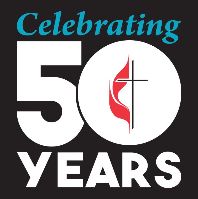 Celebrating 50 years of The United Methodist Church (1968-2018). Logo by United Methodist Communications.