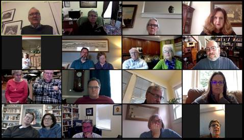 The Friendship Sunday school class of Belmont United Methodist Church in Nashville, Tenn., meets online Sunday, March 15, 2020, after church leadership encouraged people to worship from home in response to the coronavirus. Image courtesy of Susan Hay. Originally published by UMNews.