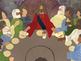 The folks at Picture the Bible have created a story/coloring book for Holy Week and Easter for families to use at home.   Jesus and the disciples at the Last Supper. Image courtesy of First Congregational Church, River Falls, Wisconsin.